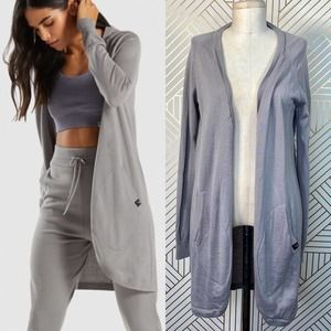 Gymshark Isla Knit Open Cardigan Sweater in Gray
